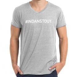 T-shirt col en V gris : IN DANS TOUT