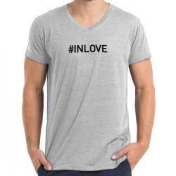 T-shirt col en V gris : IN LOVE
