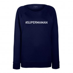 sweat femme bleu SUPER MAMAN