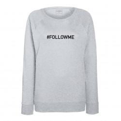Sweat femme gris clair : FOLLOW ME