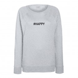 Sweat femme gris chiné HAPPY