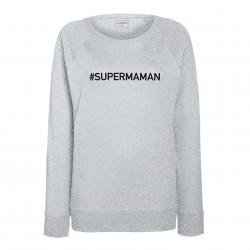 sweat femme gris SUPER MAMAN
