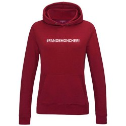 Sweat capuche femme bordeaux FAN DE MON CHERI