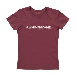 T-shirt femme bordeaux J'AIME MON HOMME