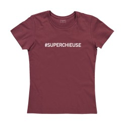 T-shirt femme bordeaux SUPERCHIEUSE