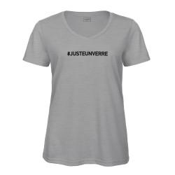T-shirt col en V gris : JUSTE UN VERRE