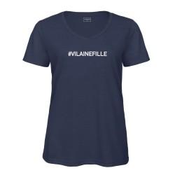 T-shirt col en V bleu - VILAINE FILLE