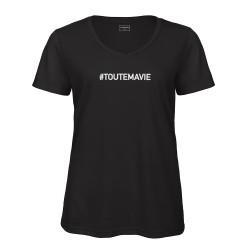 T-shirt col en V noir TOUTE MA VIE
