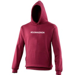 Sweat capuche hoodie homme bordeaux OUI MAIS NON