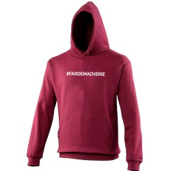 Sweat capuche (Hoodie) homme bordeaux FAN DE MA CHERIE