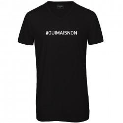 T-shirt col en V noir : OUI MAIS NON