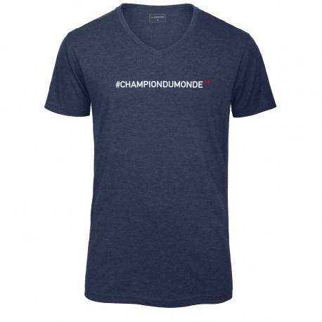T-shirt col en V bleu CHAMPION DU MONDE