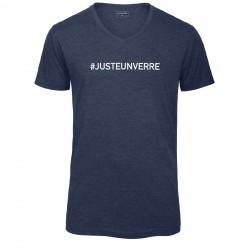 T-shirt col en V bleu chiné JUSTE UN VERRE