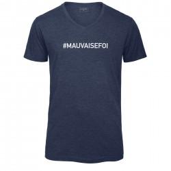 T-shirt col en V bleu chiné MAUVAISE FOI
