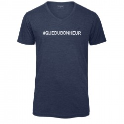T-shirt col en V bleu chiné QUE DU BONHEUR